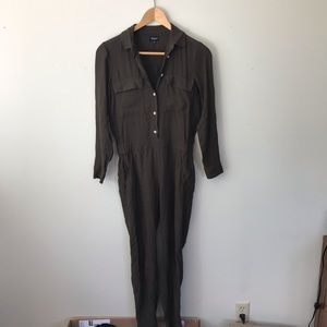 Madewell Olive Green Long Sleeve Full Jumpsuit